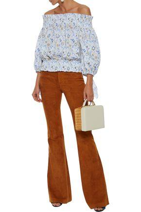 CAROLINE CONSTAS Lou off-the-shoulder printed cotton-blend top