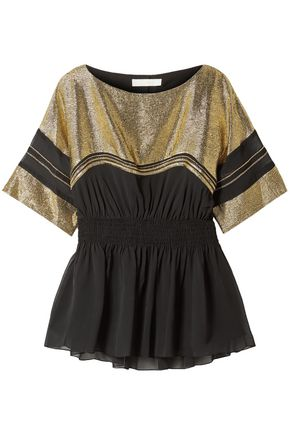 CHLOÉ Metallic jacquard-paneled crepe top