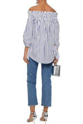 CAROLINE CONSTAS Lou off-the-shoulder striped cotton-poplin blouse