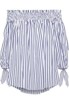 CAROLINE CONSTAS Lou off-the-shoulder striped cotton-poplin blouse