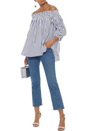 7fb36048c86 CAROLINE CONSTAS Lou off-the-shoulder striped cotton-poplin blouse