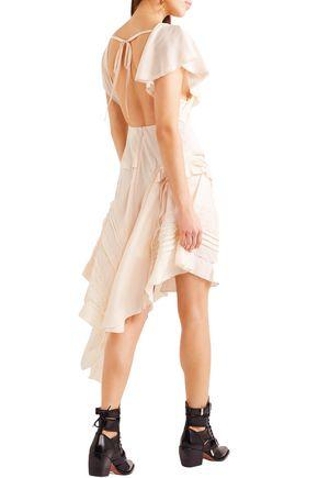 CHLOÉ Draped stretch-silk crepe mini dress
