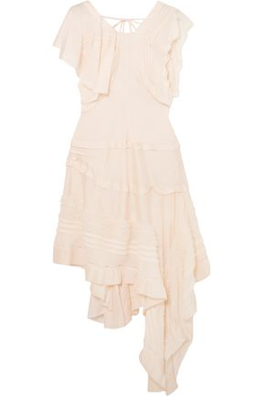 CHLOÉ Draped stretch-silk crepe mini dress