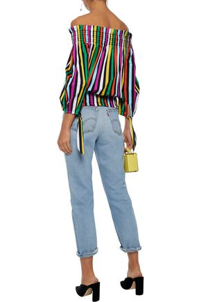 CAROLINE CONSTAS Lou off-the-shoulder striped cotton-twill top