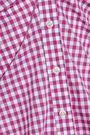 CAROLINE CONSTAS Persephone off-the-shoulder gingham cotton-poplin shirt