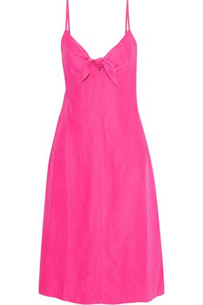 SIMON MILLER Oriska knotted silk and linen-blend slip dress