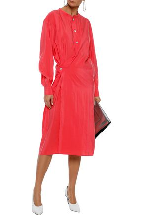 LEMAIRE Wrap-effect silk-blend taffeta midi shirt dress