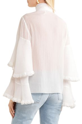 CHLOÉ Pussy-bow cotton and silk-blend blouse