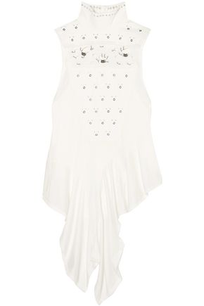 CHLOÉ Draped embellished jersey top