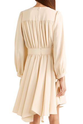 CHLOÉ Bow-detailed gathered crepe dress