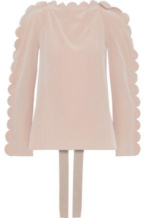 FENDI Tie-back scalloped washed-silk blouse