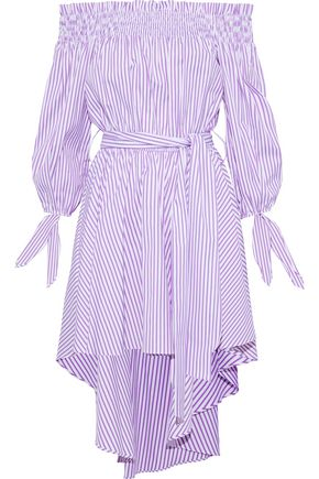 CAROLINE CONSTAS Lou off-the-shoulder striped cotton-poplin mini dress
