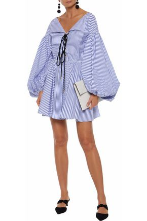 CAROLINE CONSTAS Olympia lace-up striped cotton-poplin mini dress