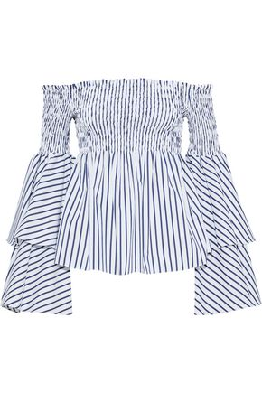 CAROLINE CONSTAS Appolonia off-the-shoulder striped cotton-poplin top