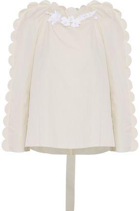 FENDI Floral-appliquéd scalloped cotton-voile blouse