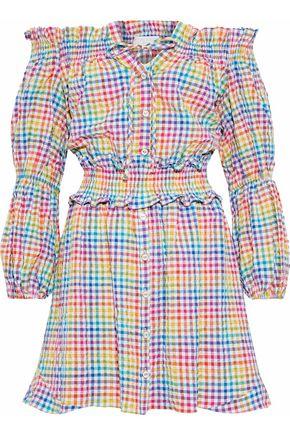 CAROLINE CONSTAS Peasant off-the-shoulder gingham seersucker mini dress
