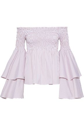 CAROLINE CONSTAS Appolonia off-the-shoulder striped cotton-poplin blouse