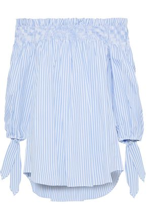 CAROLINE CONSTAS Lou off-the-shoulder striped cotton-poplin top