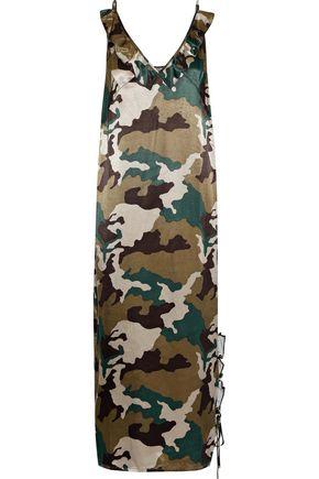 BAUM UND PFERDGARTEN Ruffle-trimmed printed satin midi slip dress