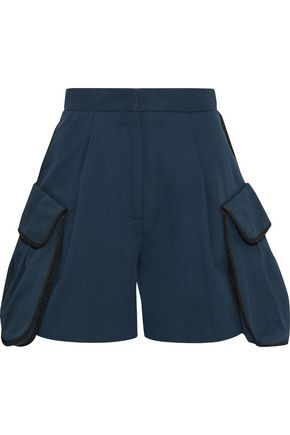 FENDI Pleated cotton-twill shorts