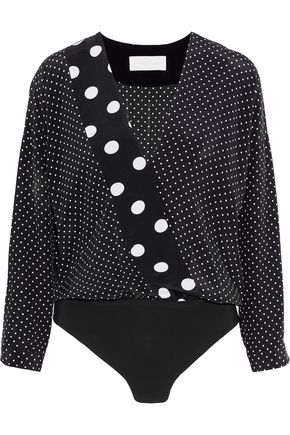 MICHELLE MASON Wrap-effect polka-dot silk bodysuit
