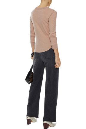 ENZA COSTA Mélange cotton and cashmere-blend top