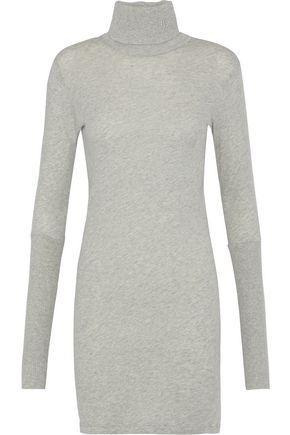 ENZA COSTA Mélange cotton and cashmere-blend turtleneck mini dress
