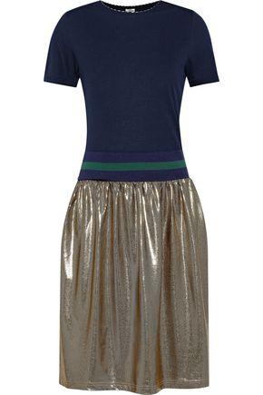 BAUM UND PFERDGARTEN Jaylee jersey, striped stretch-knit and printed lamé dress