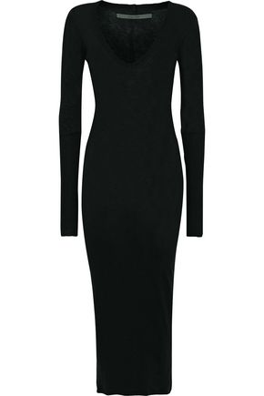ENZA COSTA Slub cotton and cashmere-blend midi dress