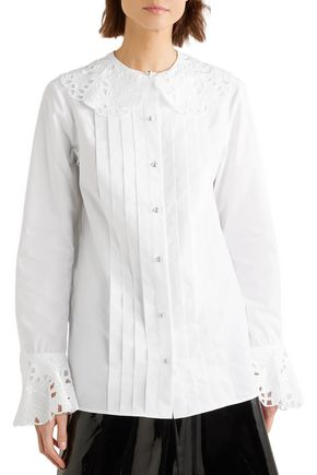 CHRISTOPHER KANE Broderie anglaise-trimmed cotton-poplin blouse