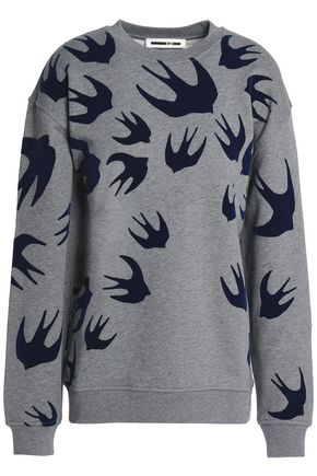 McQ Alexander McQueen Flocked French cotton-blend terry sweatshirt
