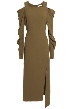 TIBI Cold-shoulder ruched stretch-crepe midi dress