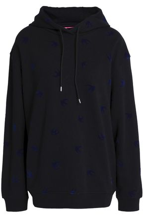 McQ Alexander McQueen Flocked French cotton-terry hooded sweatshirt