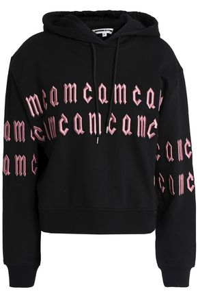 McQ Alexander McQueen Embroidered French cotton-terry hooded sweatshirt