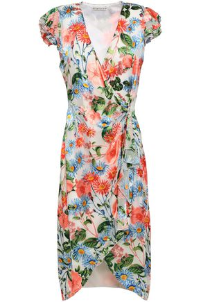 ALICE + OLIVIA Floral-print devoré-velvet wrap dress