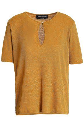 VANESSA SEWARD Metallic ribbed cotton-blend jersey top
