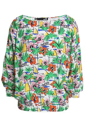 LOVE MOSCHINO Floral-print crepe top