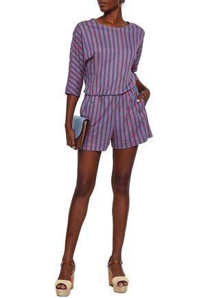 VANESSA SEWARD Striped cotton-jersey playsuit
