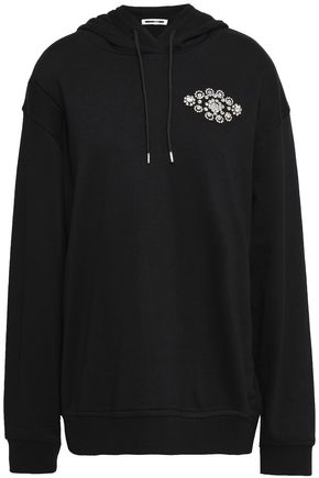 McQ Alexander McQueen Crystal-embellished French cotton and modal-blend terry hoodie