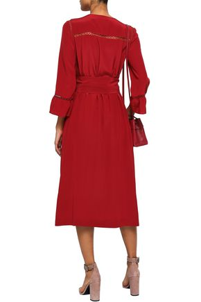 VANESSA SEWARD Lattice-trimmed silk midi dress