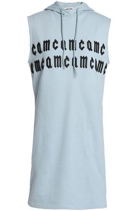McQ Alexander McQueen Embroidered French cotton-terry hooded mini dress