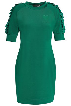 LOVE MOSCHINO Ruffled French terry mini dress