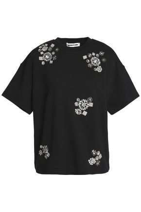 McQ Alexander McQueen Crystal-embellished French cotton-terry top