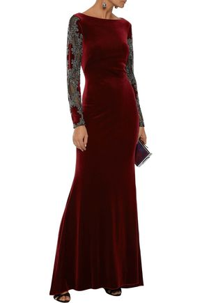 BADGLEY MISCHKA Embellished tulle-paneled velvet gown