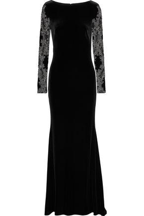 BADGLEY MISCHKA Embellished tulle and velvet gown