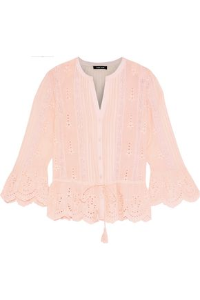 LOVE SAM Crochet-trimmed broderie anglaise voile blouse