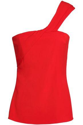CUSHNIE ET OCHS One-shoulder twisted stretch-crepe top