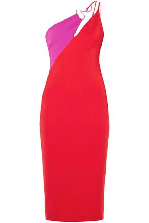 CUSHNIE ET OCHS One-shoulder two-tone stretch-crepe midi dress
