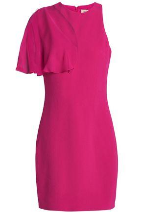 CUSHNIE ET OCHS Cutout chiffon-paneled stretch-crepe mini dress