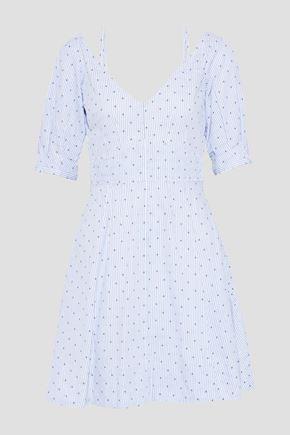 DEREK LAM 10 CROSBY Embroidered pinstriped cotton-poplin mini dress
